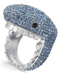 Kate Spade - Blue Silver-tone Pavé Shark Ring - Lyst