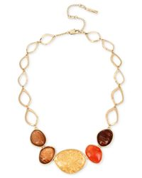 Kenneth Cole - Metallic Gold-tone Multicolor Stone Statement Necklace - Lyst