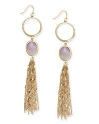 Kate Spade - Metallic Gold-tone Stone And Tassel Linear Drop Earrings - Lyst