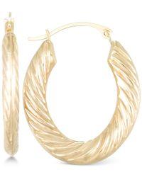Macy's - Metallic Textured Hoop Earrings In 10k Gold - Lyst