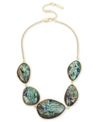 Kenneth Cole - Metallic Gold-tone Abalone Stone Statement Necklace - Lyst