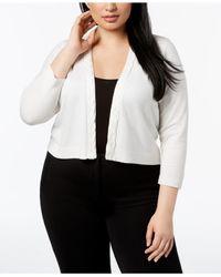 Calvin Klein - White Plus Size Cropped Braided-trim Cardigan - Lyst