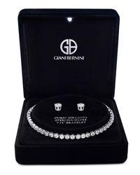 Giani Bernini - Metallic Cubic Zirconia Tennis Bracelet And Stud Earrings Set In Sterling Silver - Lyst