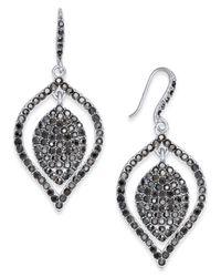 INC International Concepts   Metallic Silver-tone Hematite Pavé Drop Earrings   Lyst