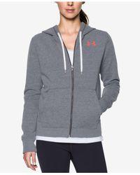 Under Armour - Gray Favorite Fleece Zip Hoodie - Lyst