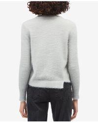 Calvin Klein Jeans - Gray Fuzzy Asymmetrical Sweater - Lyst