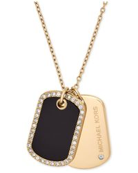 Michael Kors - Metallic Pavé & Stone Dog Tags Pendant Necklace - Lyst