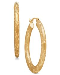Macy's - Metallic Textured Design Hoop Earrings In 14k Gold - Lyst