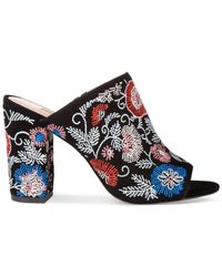 Avec Les Filles - Black Margaux Embroidered Block-heel Mules - Lyst