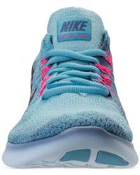 Nike - Blue Women's Free Run Flyknit 2017 Running Sneakers From Finish Line - Lyst
