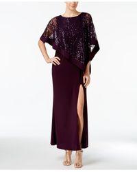 R & M Richards - Purple Sequined Lace Cold-shoulder Cape Gown - Lyst