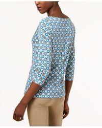 Weekend by Maxmara - Blue Printed 3/4-sleeve Top - Lyst