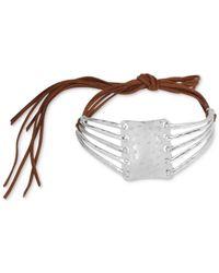 Robert Lee Morris - Metallic Silver-tone Sculptural Brown Suede Choker Necklace - Lyst