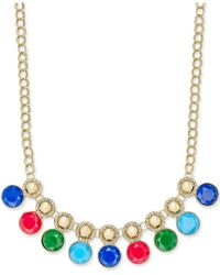 Charter Club | Metallic Gold-tone Pavé And Colored Stone Necklace | Lyst