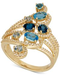 Macy's - Metallic Blue Topaz (1-1/6 Ct. T.w.) And Diamond (1/3 Ct. T.w.) Statement Ring In 14k Gold - Lyst