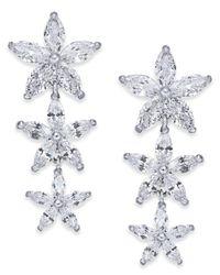 Joan Boyce - White Silver-tone Crystal Flower Linear Drop Earrings - Lyst