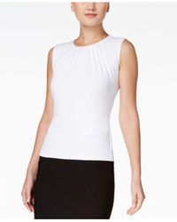 Calvin Klein - White Petite Sleeveless Shirred Shell - Lyst