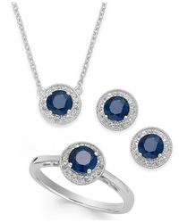 Macy's - Metallic Sapphire (2-1/2 Ct. T.w.) And White Topaz (1/2 Ct. T.w.) Jewelry Set In Sterling Silver - Lyst
