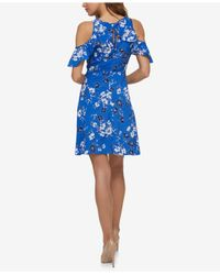 Jessica Simpson | Blue Printed Cold-shoulder Surplice Dress | Lyst
