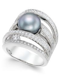 Macy's - Metallic Gray Cultured Freshwater Pearl (10mm) And Cubic Zirconia Multi-row Statement Ring In Sterling Silver - Lyst