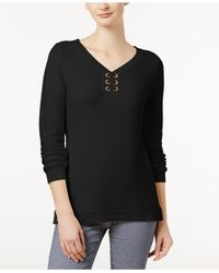 Charter Club - Black Ribbed Grommet Sweater, Created For Macy's - Lyst