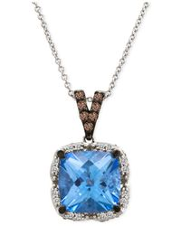 Le Vian - Blue Topaz (5 Ct. T.w.) And Diamond (1/3 Ct. T.w.) Pendant Necklace In 14k White Gold - Lyst