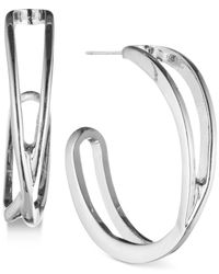 """Nine West - Metallic Openwork 7/8"""" Hoop Earrings - Lyst"""