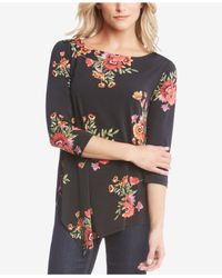 Karen Kane - Multicolor Floral-print Asymmetrical-hem Top - Lyst