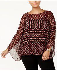 Alfani | Red Plus Size Printed Angel-sleeve Top | Lyst