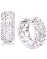 Macy's - Multicolor Diamond Three-row Hoop Earrings (5/8 Ct. T.w.) In 14k White Gold - Lyst