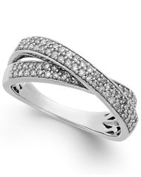 Macy's - Metallic Diamond Crossover Ring In Sterling Silver (1/2 Ct. T.w.) - Lyst