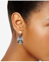 Charter Club - Metallic Silver-tone Clear & Jet Crystal With Imitation Pearl Drop Earrings - Lyst
