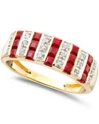 Macy's - Red Gemstone (9/10 Ct. T.w.) And Diamond (1/10 Ct. T.w.) Ring In 14k Gold Or White Gold - Lyst