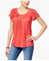 Style & Co. - Multicolor Pleated-neck Top, Created For Macy's - Lyst