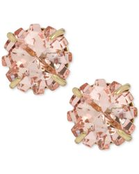 Betsey Johnson - Gold-tone Pink Crystal Glitter Stud Earrings - Lyst