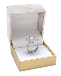 Charter Club - Metallic Silver-tone Crystal Love Knot Statement Ring, Created For Macy's - Lyst