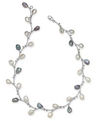 "Macy's - Metallic White & Pink Keshi Freshwater Pearl (7-1/2mm) Vine 17-1/2"" Collar Necklace In Sterling Silver - Lyst"