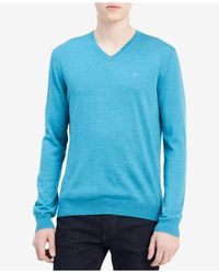 CALVIN KLEIN 205W39NYC - Blue Men's Solid V-neck Sweater for Men - Lyst