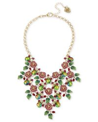 """Betsey Johnson - Pink Gold-tone Multi-stone Rose Statement Necklace, 16"""" + 3"""" Extender - Lyst"""