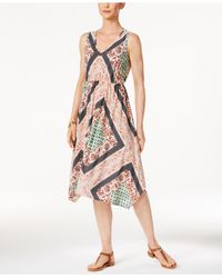 Style & Co. - Multicolor Petite Printed Coin-trim Dress - Lyst