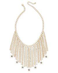 INC International Concepts - Metallic Gold-tone Hematite Stone Fringe Statement Necklace - Lyst