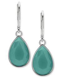 Nine West - Blue Colored Stone Drop Earrings - Lyst