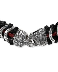 Scott Kay - Men's Black & Red Woven Leather Bracelet In Sterling Silver for Men - Lyst