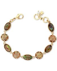 Lucky Brand - Metallic Gold-tone Abalone Stone Link Bracelet - Lyst