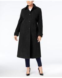 Jones New York - Black Plus Size Maxi Walker Coat - Lyst