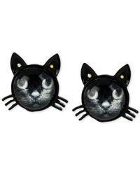 Betsey Johnson - Black Cat Stud Earrings - Lyst