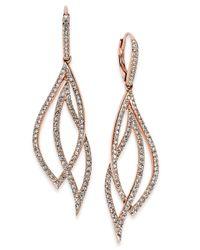 Danori - Metallic Rose Gold-tone Laurel Pavé Drop Earrings - Lyst