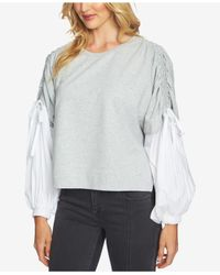 1.STATE Gray Blouson-sleeve Sweatshirt