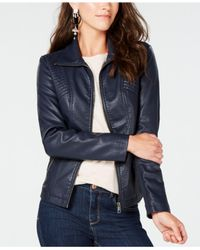 Style & Co. - Blue Faux-leather Moto Jacket, Created For Macy's - Lyst