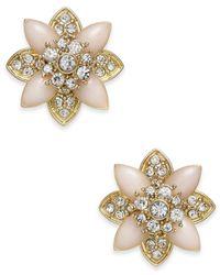 Charter Club - Metallic Gold-tone Crystal & Pink Stone Stud Earrings - Lyst